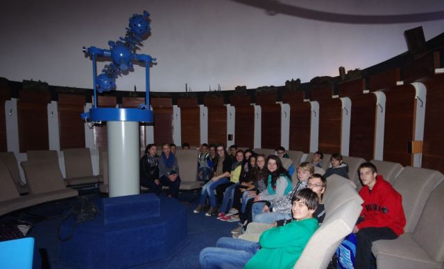A group of students in the Planetarium at the Technical Museum in Kosice. Photo Credit: Martin George