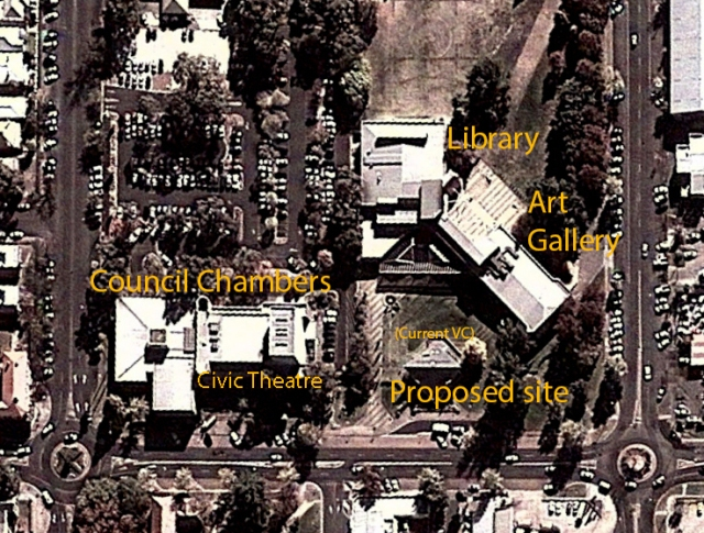 The new location showing the existing council chambers (with civic theatre), library, art gallery and current visitor's centre. The new museum (which will incorporate a new visitor's centre) and planetarium will take up the majority of the lower right corner of the block. The site is only one street over and within easy walking distance from the town's CBD.
