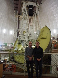 Astronomer Amanda Bauer showing Gary Starr the main telescope facility