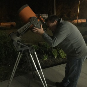 Wally with a telescope
