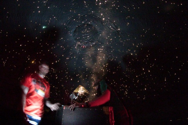 (Left) James O'Hanlon | Australian Museum and (Right) Shane next to the projection system inside the StarLab (Photo Credit: Shane Hengst)