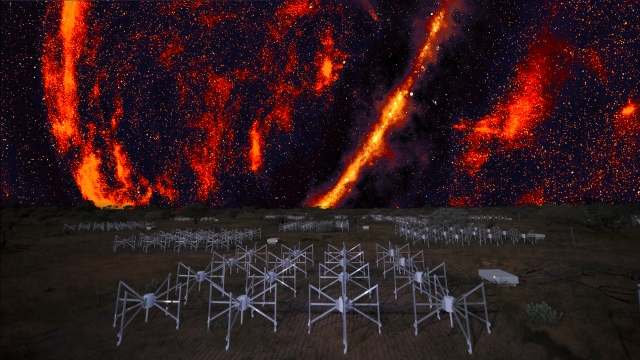 The Murchison Widefield Array beneath the radio sky that the MWA records, this radio telescope detects radio waves that are invisible to our eyes. Credit: Melbourne Planetarium / MWA GLEAM Team / Alex Cherney